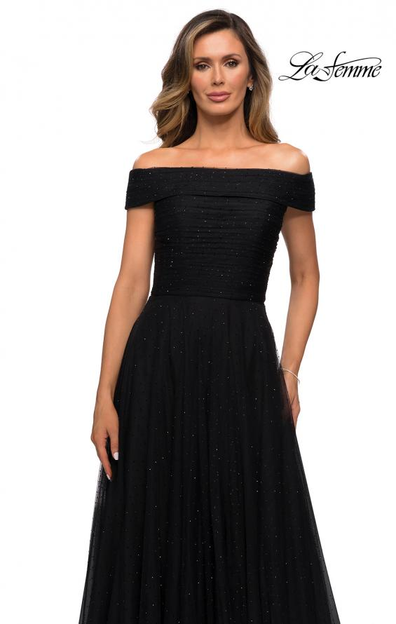 Picture of: Tulle Off the Shoudler A-line Dress with Rhinestones in Black, Style: 28051, Detail Picture 2