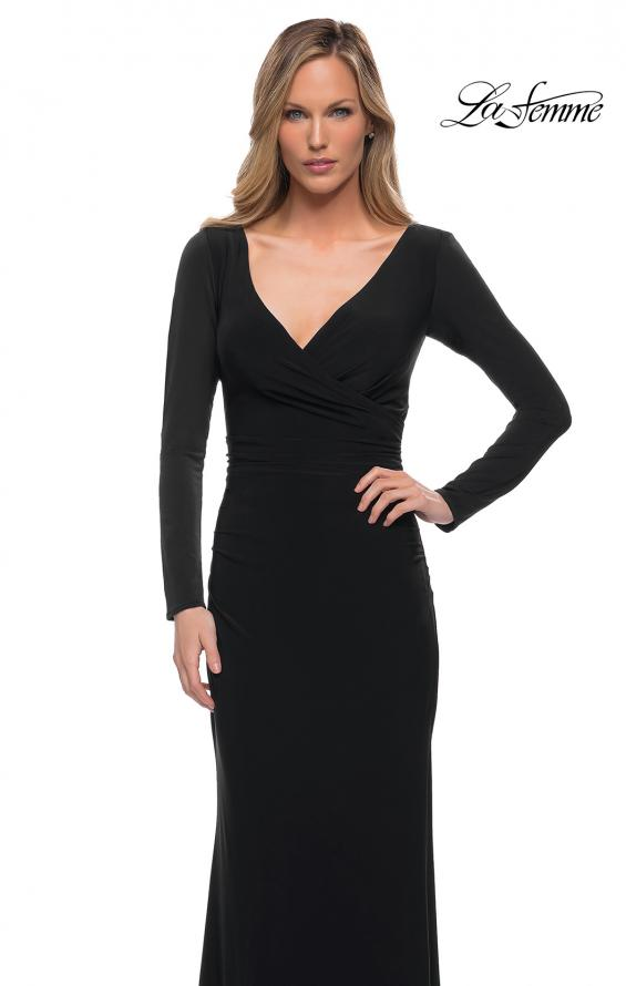 Picture of: Long Sleeve Jersey Evening Dress with Ruching in Black, Detail Picture 3