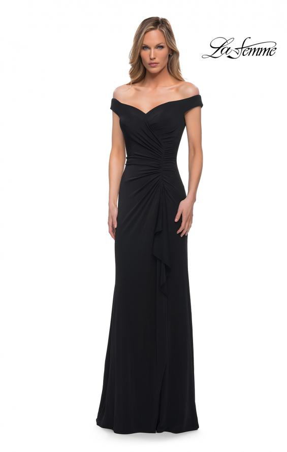 Picture of: Off the Shoulder Ruched Jersey Gown in Black, Detail Picture 3