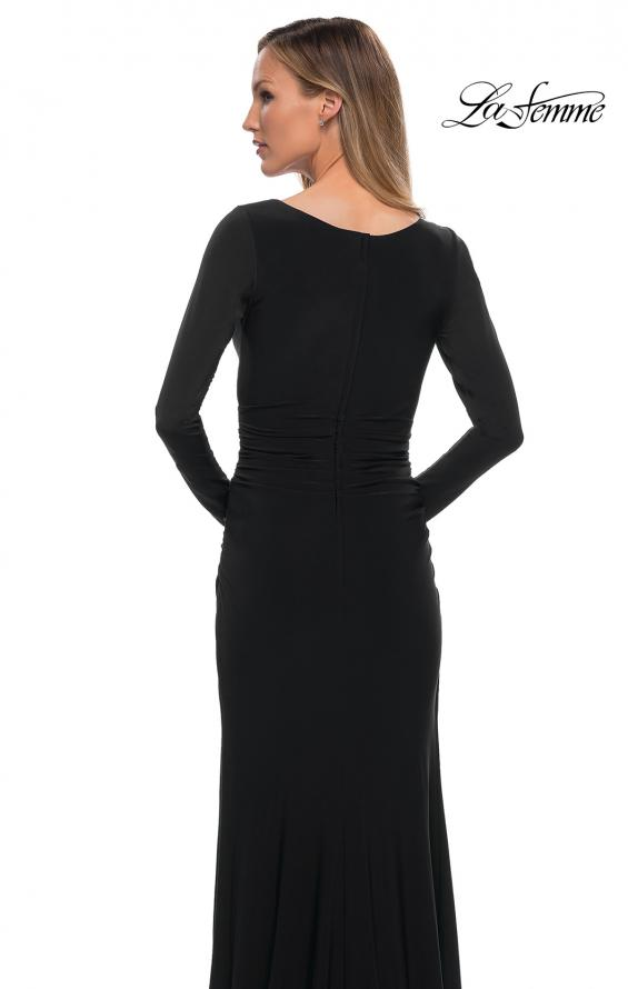 Picture of: Long Sleeve Jersey Evening Dress with Ruching in Black, Detail Picture 4