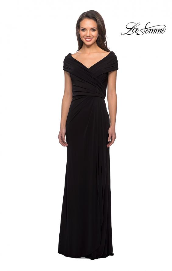 Picture of: Ruched Jersey Long Gown with V-Neckline, Style: 26519, Detail Picture 5