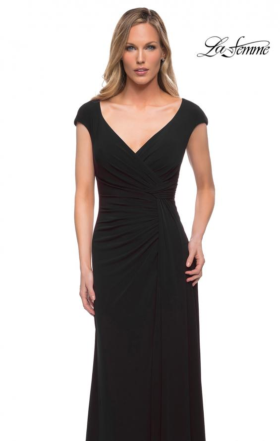 Picture of: Jersey Dress with Knot at Waist and Short Sleeves in Black, Detail Picture 5