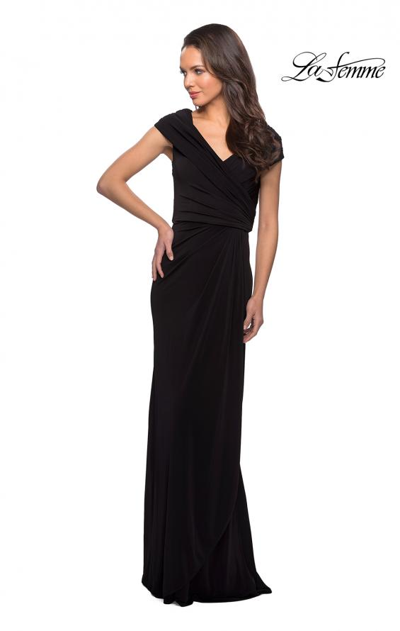 Picture of: Ruched Jersey Long Gown with V-Neckline, Style: 26519, Detail Picture 6