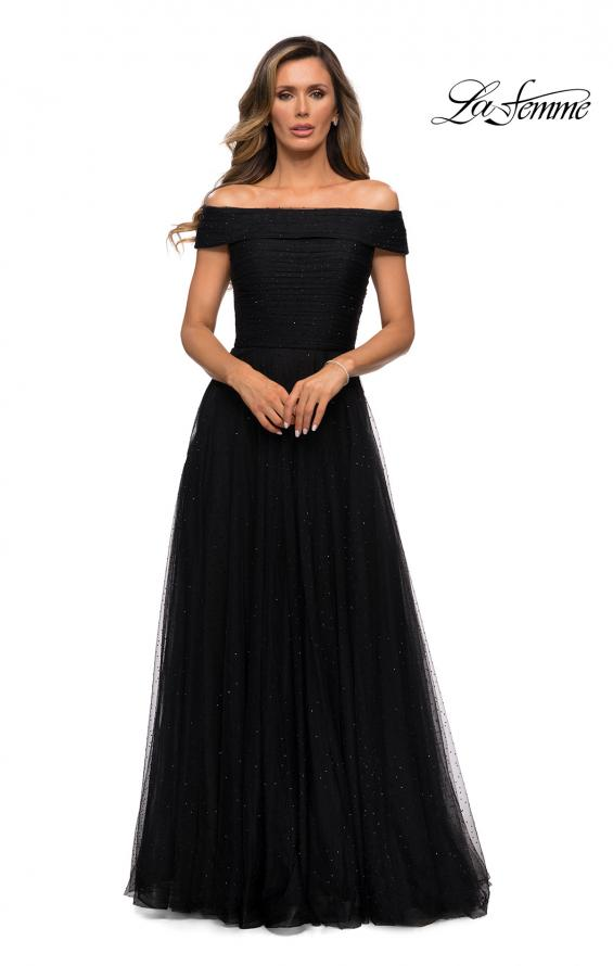 Picture of: Tulle Off the Shoudler A-line Dress with Rhinestones in Black, Style: 28051, Detail Picture 7