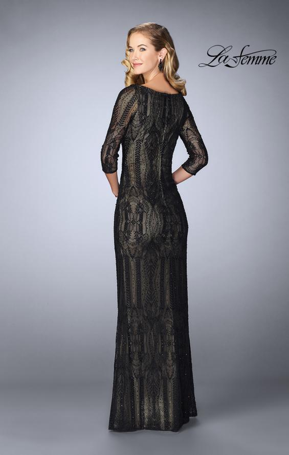 Picture of: Long Lace Gown With Intricate Pattern, Style: 24855, Back Picture