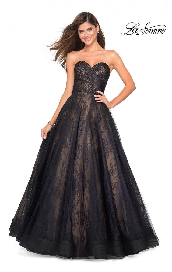 Picture of: Strapless Lace Ball Gown with Sweetheart Neckline in Black Nude, Style: 27135, Main Picture