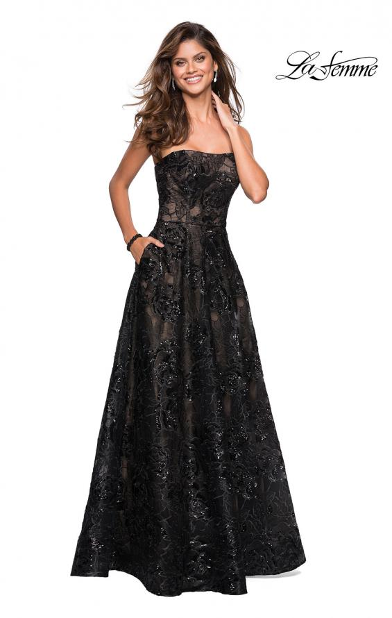 Picture of: Strapless A Line Lace Prom Dress with Beaded Detail, Style: 27164, Main Picture
