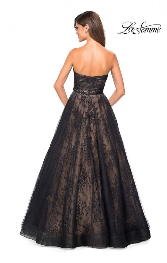 Picture of: Strapless Lace Ball Gown with Sweetheart Neckline in Black Nude, Style: 27135, Back Picture