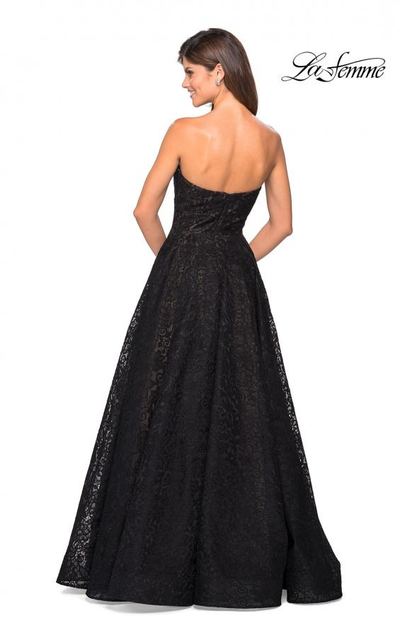 Picture of: A Line Lace Strapless Ball Gown, Style: 27284, Back Picture