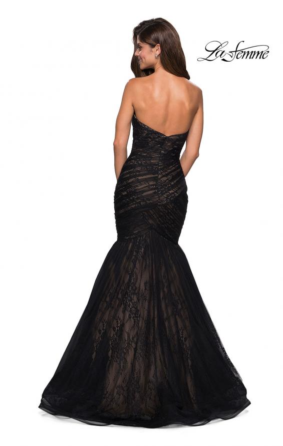 Picture of: Strapless Mermaid Long Lace Prom Dress in Black Nude, Style: 27333, Back Picture