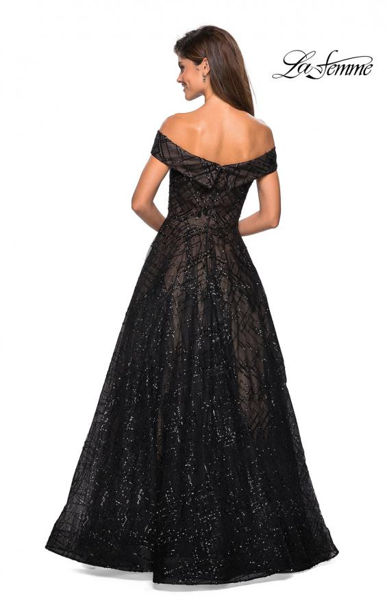 Picture of: sequin Ball Gown with Off the Shoulder Top in Black Nude, Style: 27577, Back Picture