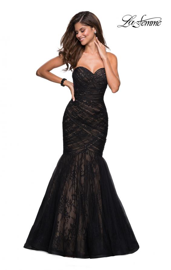 Picture of: Strapless Mermaid Long Lace Prom Dress in Black Nude, Style: 27333, Detail Picture 1