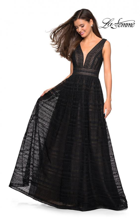 Picture of: Bohemian Long A Line Prom Dress with V Shaped Back in Black Nude, Style: 27074, Detail Picture 3