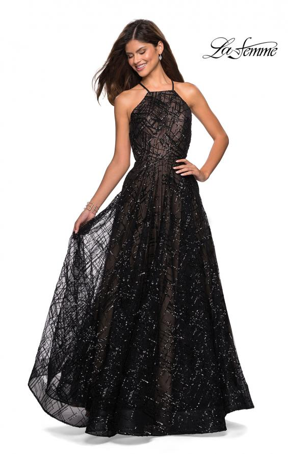 Picture of: High Neckline sequin A Line Prom Dress in Black Nude, Style: 27451, Detail Picture 3