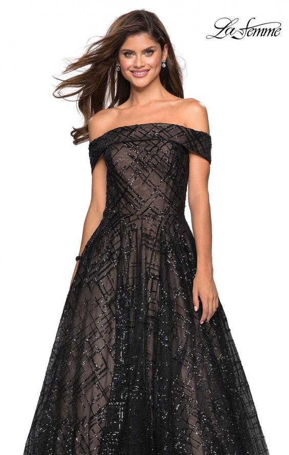 Picture of: sequin Ball Gown with Off the Shoulder Top in Black Nude, Style: 27577, Detail Picture 3