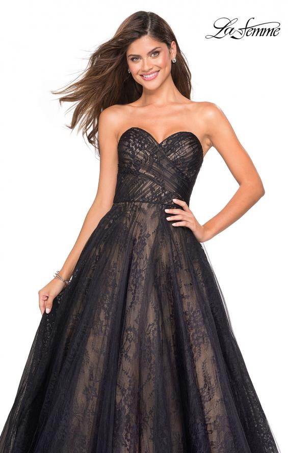 Picture of: Strapless Lace Ball Gown with Sweetheart Neckline in Black Nude, Style: 27135, Detail Picture 4