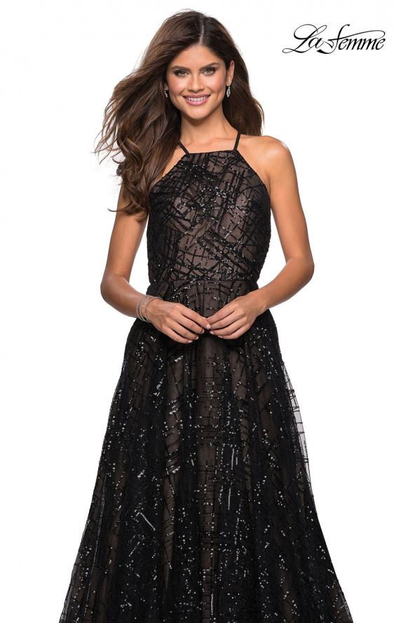 Picture of: High Neckline sequin A Line Prom Dress in Black Nude, Style: 27451, Detail Picture 6