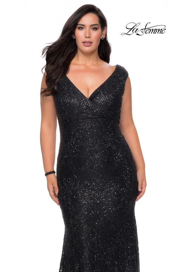 Picture of: Curvy Stretch Lace Dress with V-Neck and Rhinestones in Black, Style: 28837, Main Picture