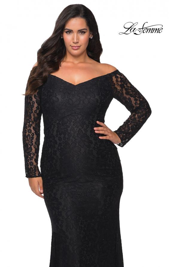 Picture of: Lace Off The Shoulder Long Sleeve Plus Dress with Stones in Black, Style: 28945, Main Picture