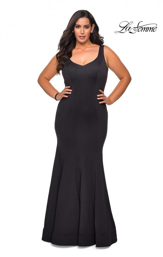 Picture of: Long Jersey Plus Size Mermaid Prom Dress in Black, Style: 28975, Main Picture