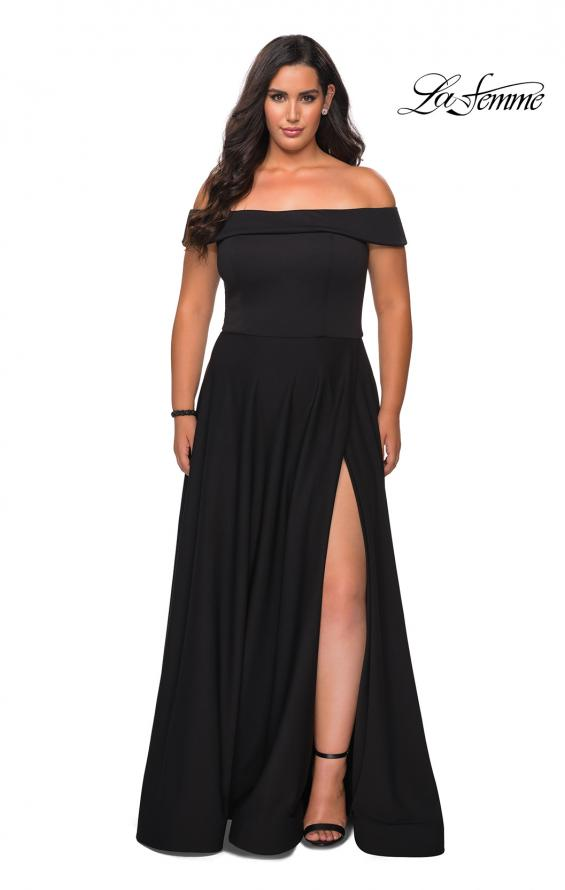 Picture of: Off The Shoulder Plus Size Dress with Leg Slit in Black, Style: 29007, Main Picture