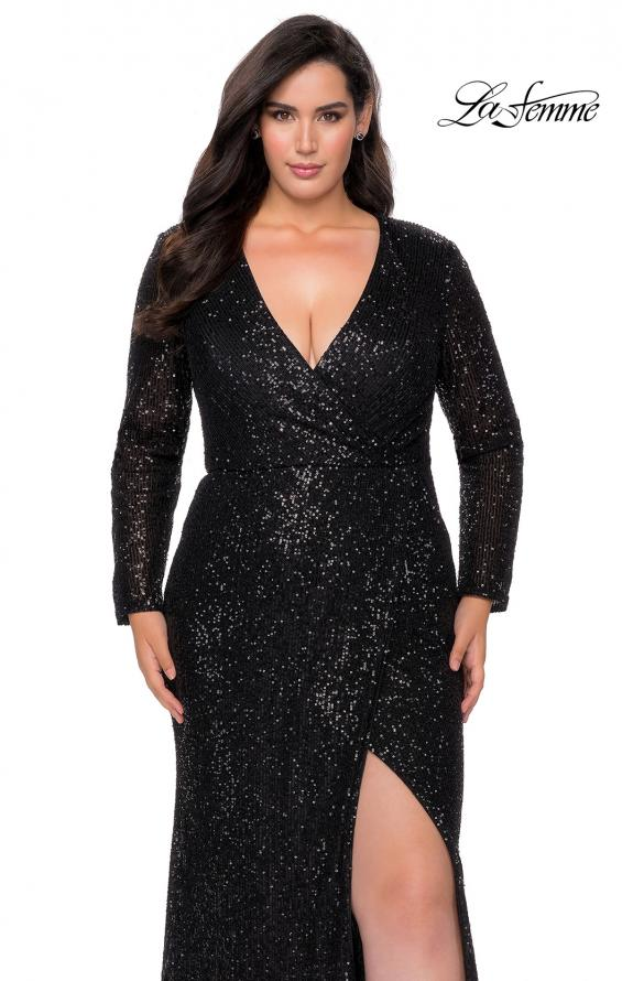 Picture of: Long Sleeve Sequin Plus Size Prom Dress with Slit in Black, Style: 28880, Detail Picture 8
