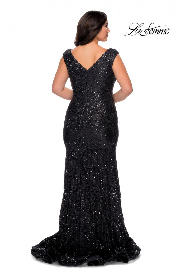 Picture of: Curvy Stretch Lace Dress with V-Neck and Rhinestones in Black, Style: 28837, Back Picture