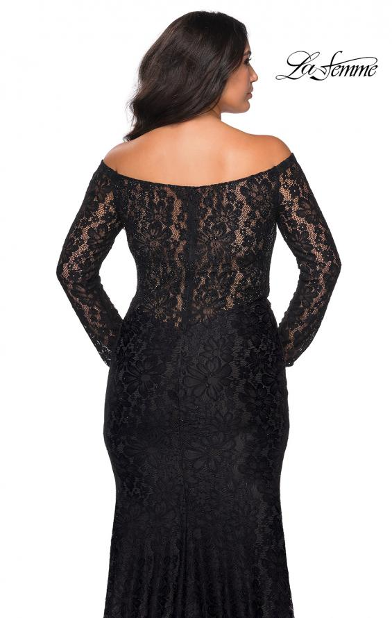 Picture of: Lace Off The Shoulder Long Sleeve Plus Dress with Stones in Black, Style: 28945, Back Picture