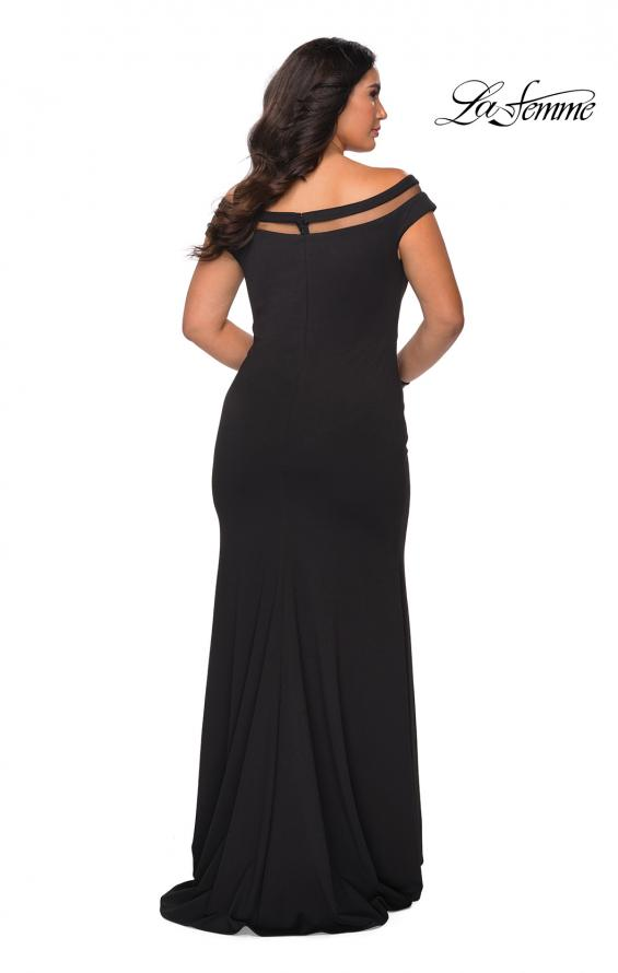 Picture of: Off The Shoulder Plus Size Gown with Sheer Neckline Detail in Black, Style: 29049, Back Picture