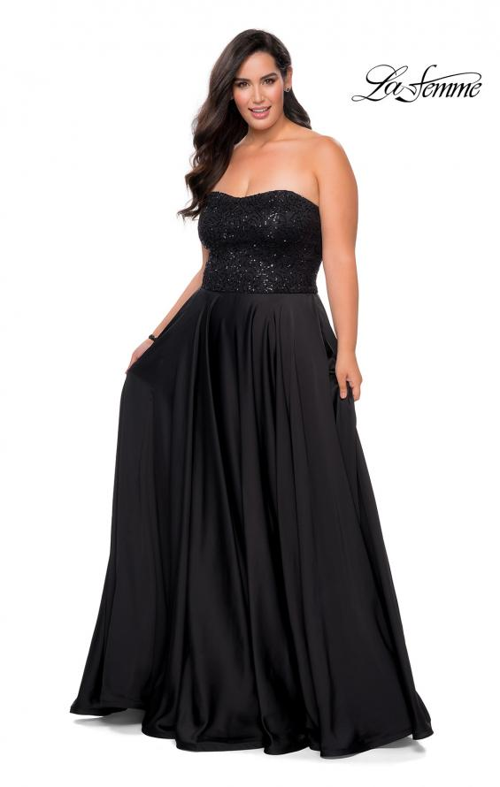 Picture of: Strapless Plus Size Prom Dress with Sequin Bodice in Black, Style: 28741, Detail Picture 1