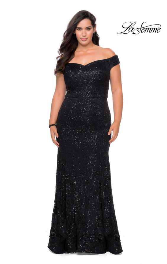 Picture of: Off the Shoulder Lace Plus Dress with Defined Waist in Black, Style: 28883, Detail Picture 1