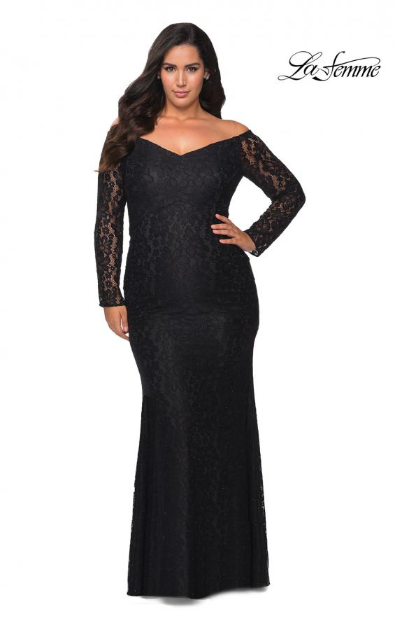 Picture of: Lace Off The Shoulder Long Sleeve Plus Dress with Stones in Black, Style: 28945, Detail Picture 1
