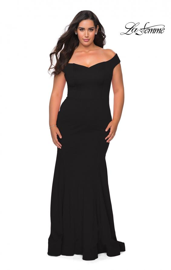 Picture of: Off the Shoulder Plus Size Jersey Prom Dress in Black, Style: 28963, Detail Picture 1