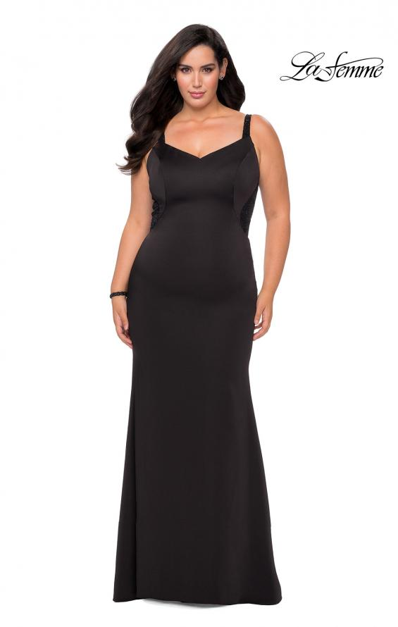 Picture of: Floor Length Black Jersey Plus Size Prom Dress in Black, Style: 28964, Detail Picture 1