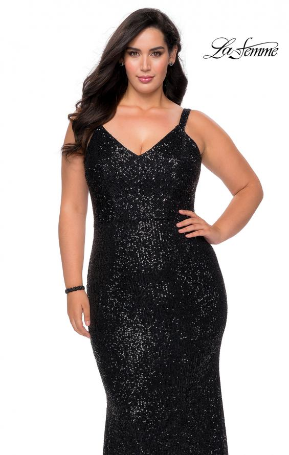 Picture of: Sequined Curvy Prom Dress with Criss Cross Back in Black, Style: 29037, Detail Picture 1
