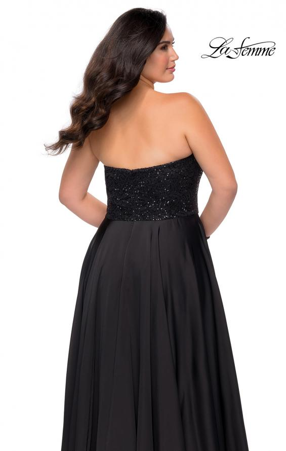 Picture of: Strapless Plus Size Prom Dress with Sequin Bodice in Black, Style: 28741, Detail Picture 2