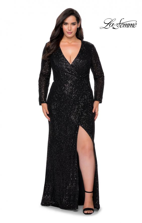 Picture of: Long Sleeve Sequin Plus Size Prom Dress with Slit in Black, Style: 28880, Detail Picture 2