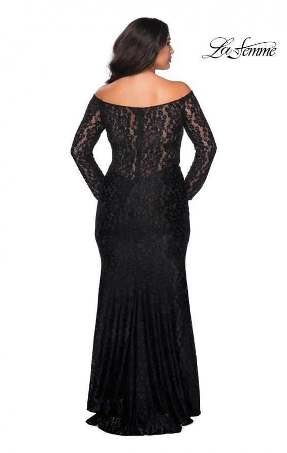 Picture of: Lace Off The Shoulder Long Sleeve Plus Dress with Stones in Black, Style: 28945, Detail Picture 2