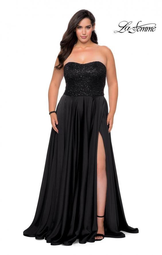 Picture of: Strapless Plus Size Prom Dress with Sequin Bodice in Black, Style: 28741, Detail Picture 3