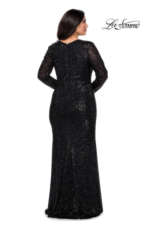 Picture of: Long Sleeve Sequin Plus Size Prom Dress with Slit in Black, Style: 28880, Detail Picture 3