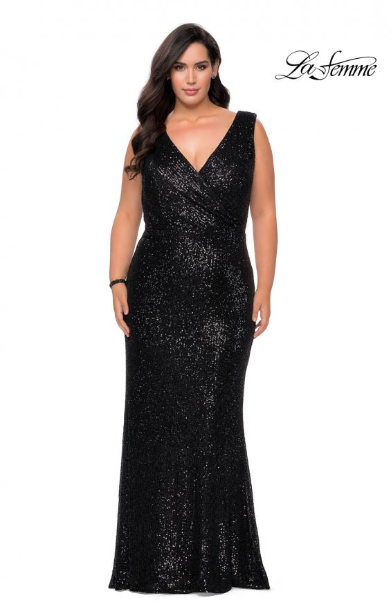 Picture of: Long Sequin Plus Size Prom Gown with V-Neck in Black, Style: 28770, Detail Picture 4