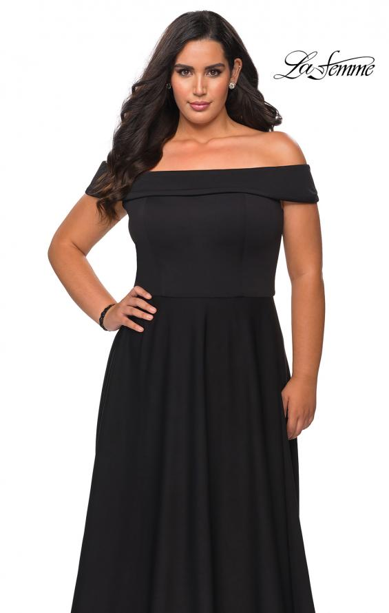 Picture of: Off The Shoulder Plus Size Dress with Leg Slit in Black, Style: 29007, Detail Picture 4