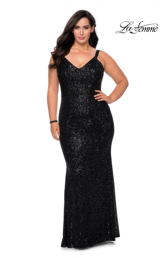 Picture of: Sequined Curvy Prom Dress with Criss Cross Back in Black, Style: 29037, Detail Picture 4