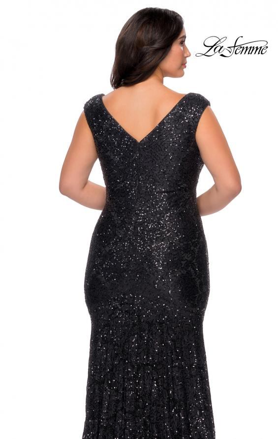 Picture of: Curvy Stretch Lace Dress with V-Neck and Rhinestones in Black, Style: 28837, Detail Picture 6