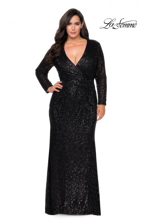 Picture of: Long Sleeve Sequin Plus Size Prom Dress with Slit in Black, Style: 28880, Detail Picture 6