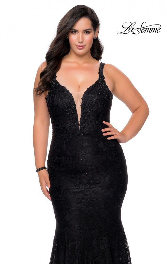Picture of: Neon Plus SIze Prom Dress with Lace Up Back in Black, Style: 29052, Detail Picture 6