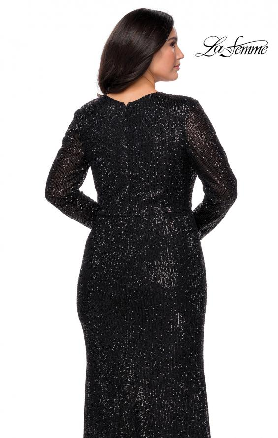 Picture of: Long Sleeve Sequin Plus Size Prom Dress with Slit in Black, Style: 28880, Detail Picture 7