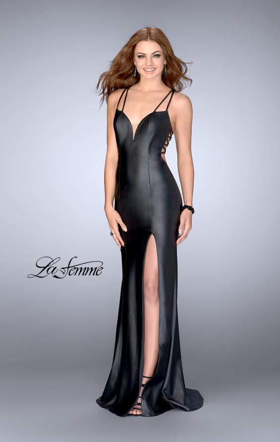 Picture of: Vegan Leather Gown with Strappy Back in Black, Style: 24712, Main Picture