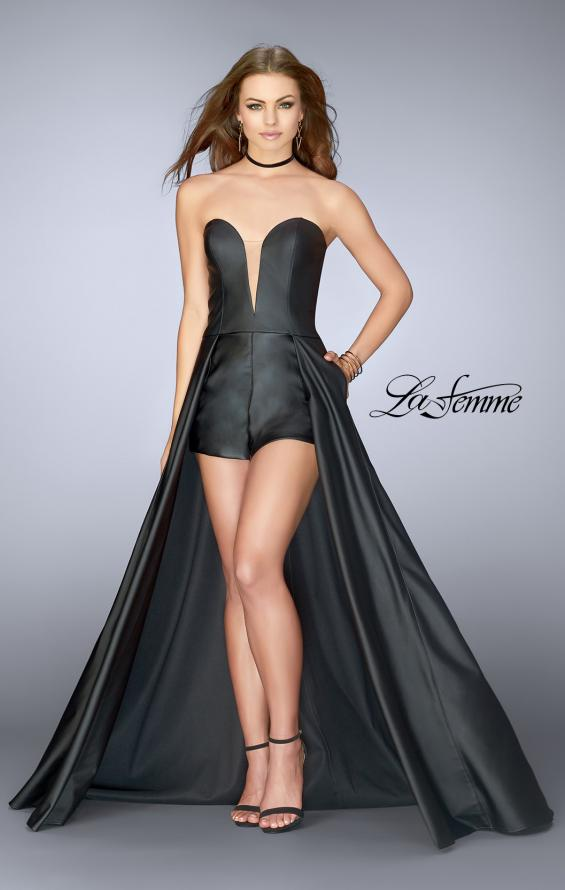 Picture of: Vegan Leather Romper with Overlaying Cape in Black, Style: 24729, Main Picture