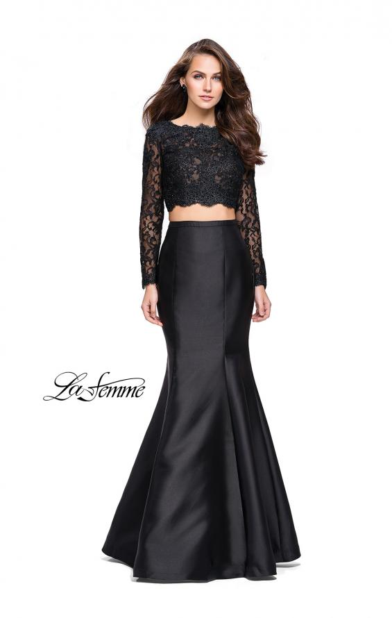 Picture of: Two Piece Mermaid Dress with Lace Top and Rhinestones in Black, Style: 25324, Main Picture